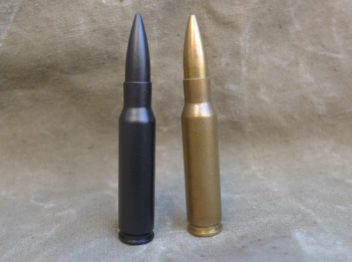 7.62x51 mm NATO 3d printed In comparison with real round.