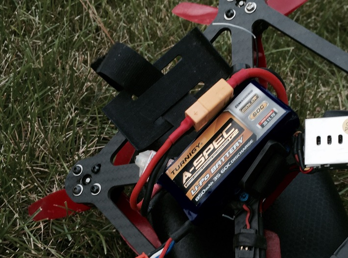 LiPo Battery Sled Shield 3d printed before closing strap