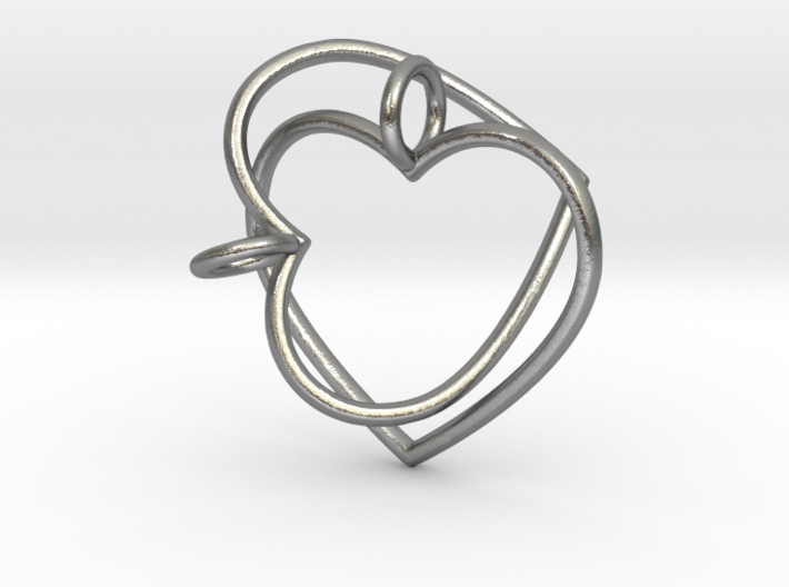 Two Hearts Interlocking 3d printed Two Hearts Interlocking Pendant (different materials have different prices)