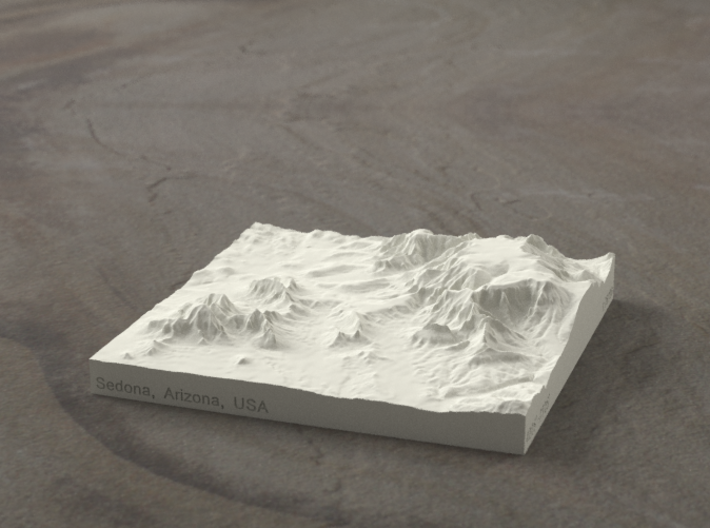 4'' Sedona, Arizona, USA, Sandstone 3d printed Radiance rendering of model, viewed from SSE