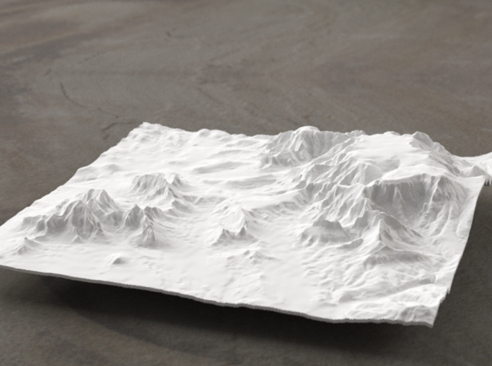 6'' Sedona Terrain Model, Arizona, USA 3d printed Radiance rendering of model, viewed from SSE