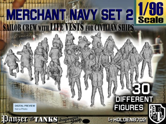 1/96 Merchant Navy Crew Set 2 3d printed