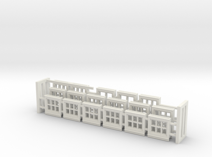 Red Barn Window Group B (16) - 72:1 Scale 3d printed