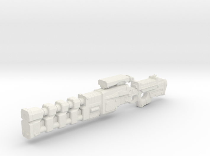Rail gun extended onepiece 1:18th Scale UPDATED lo 3d printed Railgun - gun for 1:18th scale action figures
