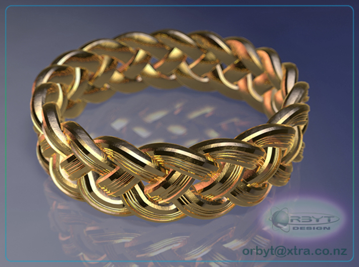 Celtic Knot Ring 1 ~ US size 14 3d printed Raytraced DOF render simulating 14k gold material