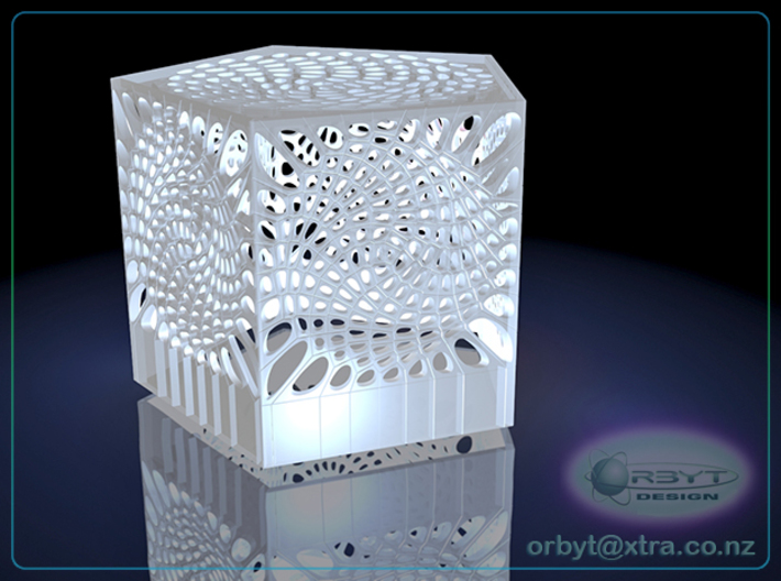 Voronoi penta lampshade ~145mm tall 3d printed Raytraced render simulating polished white strong & flexible material