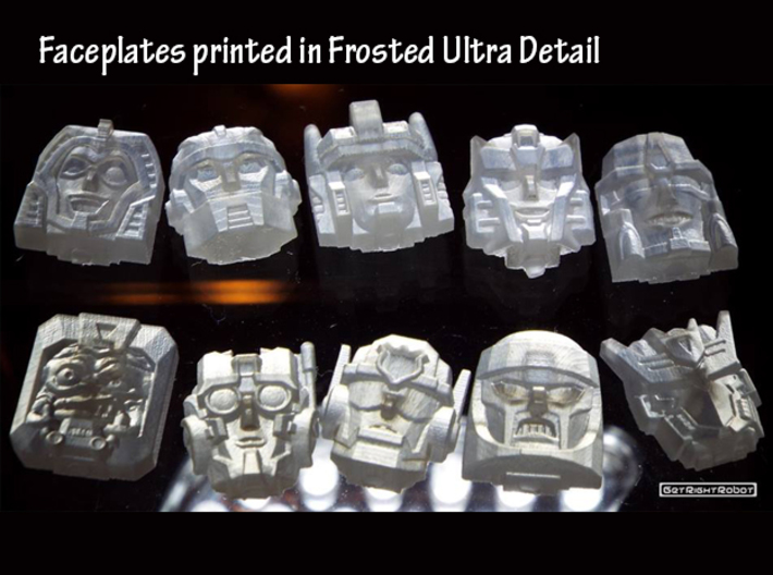 Minerva Faceplate (Titans Return) 3d printed Frosted Ultra Detail print (Shown with others)