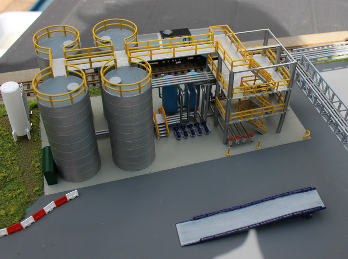 N Scale Chemical Storage Installation Pt 1/2 3d printed almost finished model. Crossover stairs, sand filter, forklift ramp, pipe bridges, cryogenic vaporizer etc available separately.