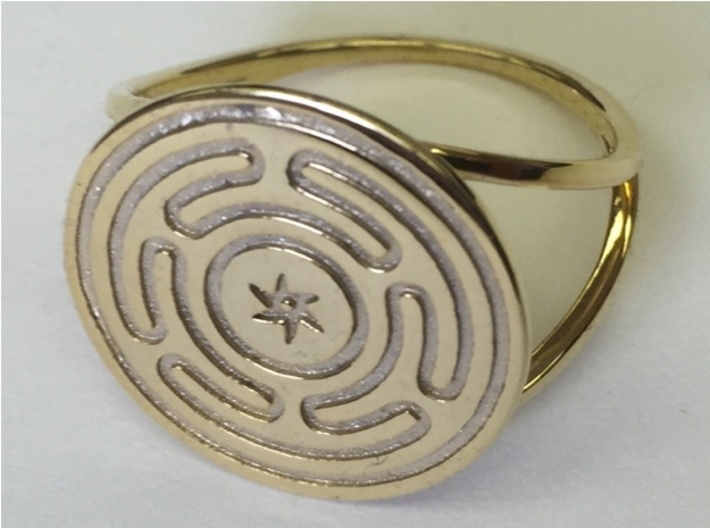 Wheel of Hecate ring (choose size) 3d printed The Wheel of Hecate ring in 14k Gold Plated.