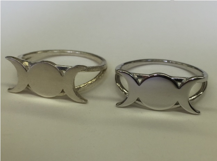 Triple Moon Ring (customize) 3d printed Comparing unpolished versus polished: raw silver on the left (unpolished), rhodium plated on the right (polished).