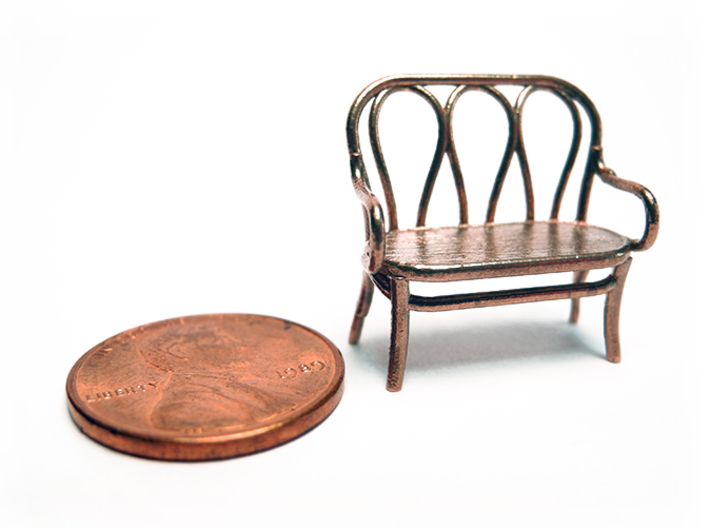 1:48 Bentwood Settee 3d printed Printed in Raw Bronze
