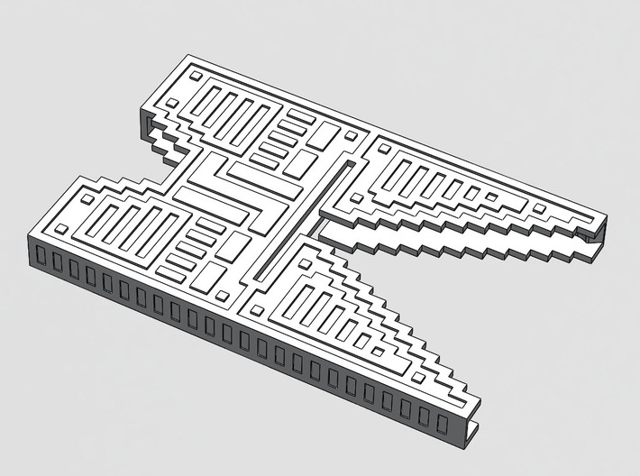 "Sliminal ""Pixel"" (6 Cards) 3d printed Vector art showing design features."