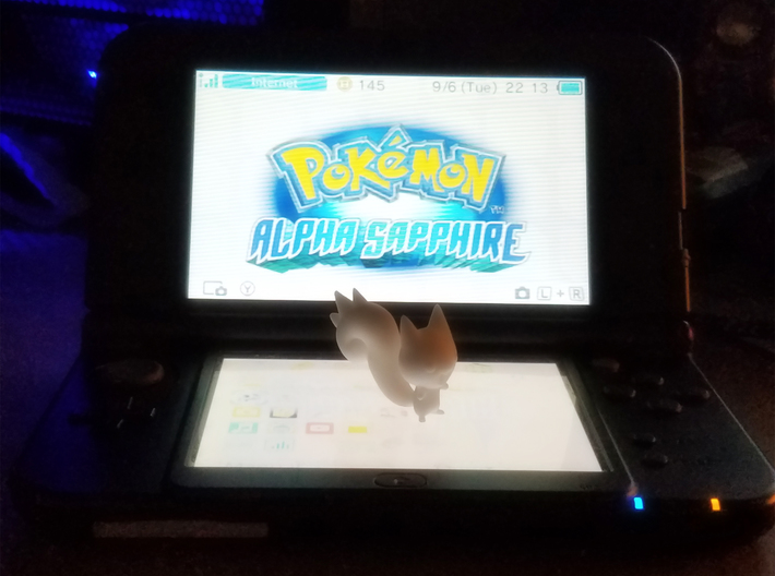 Tiny Pachirisu! 3d printed Size comparison to Nintendo 3Ds Xl