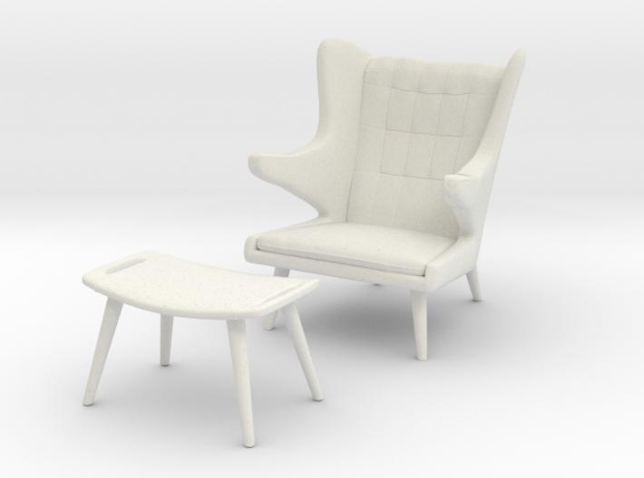 Wegner AP-19 Chair w/ Ottoman aka Papa Bear 3d printed