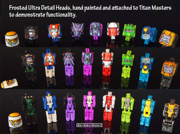 Arcee, G1 Face (Titans Return) 3d printed Hand Painted Frosted Ultra Detail prints shown on figures to demonstrate compatibility (this face not shown)