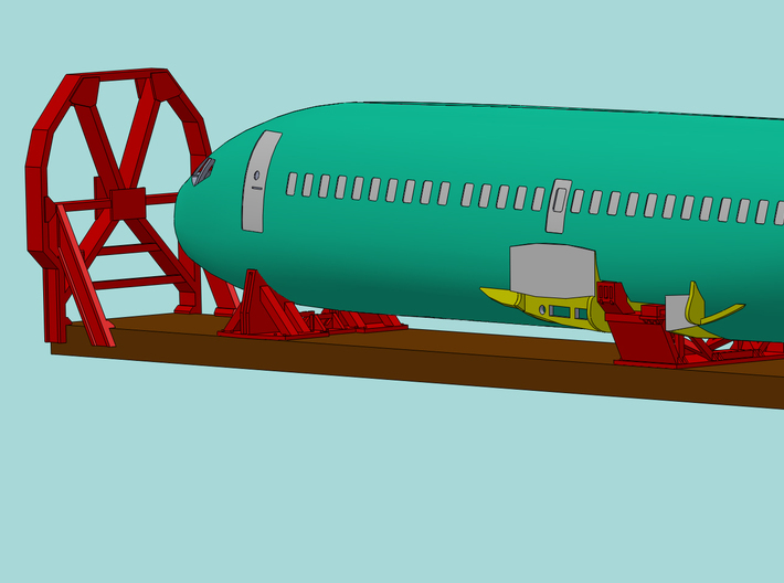 HO 1/87 Boeing 737-400 Fuselage 3d printed Another CAD image showing the Cradles and how they fit the fuselage.