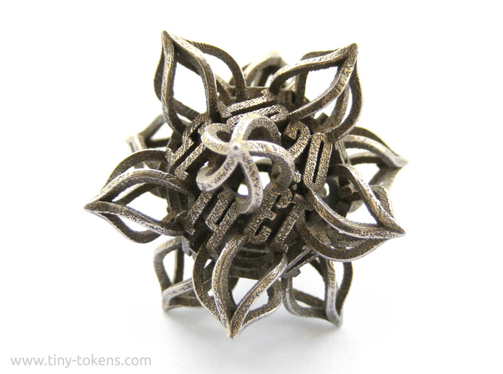 'Kaladesh' D20 Balanced Gaming Die 3d printed This item is the regular gaming version. However the pictured d20 is the spindown version.