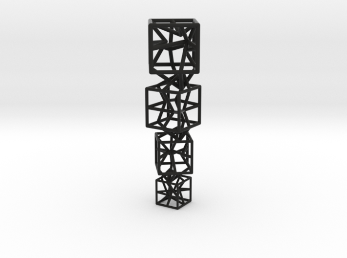 4 stylised cubes composition 3d printed