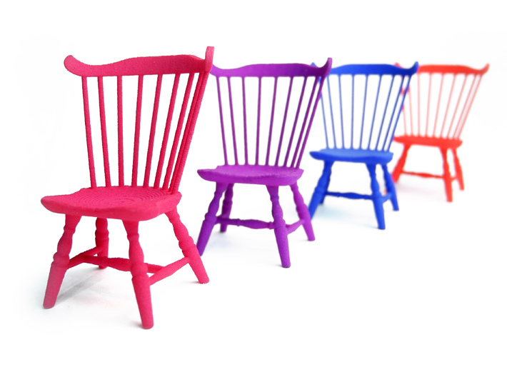 1:24 Fan Back Windsor Chair 3d printed Dyed, Strong & Flexible Colors