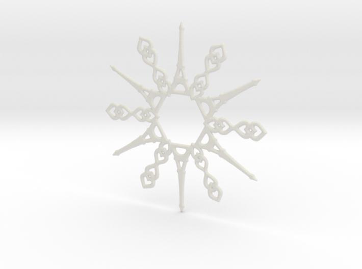 Paris Snowflake Ornament 3d printed