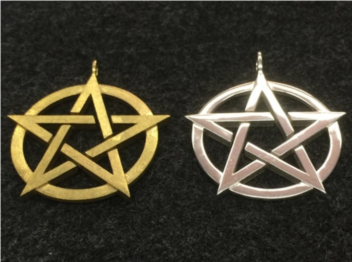 Pentagram Pendant 3d printed On the left is the pendant in natural brass, on the right is the pendant in polished silver.