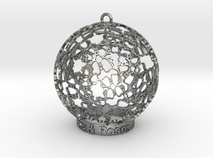 Roses & Roses Ornament 3d printed Roses in silver are shining spectacularly.