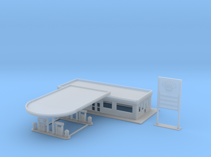 Shell Gas Station Z Scale 3d printed Z Scale Gas Station