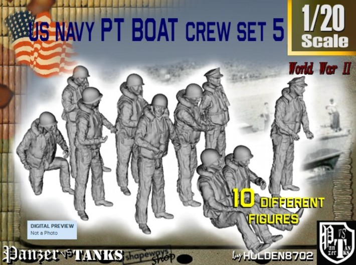1-20 US Navy PT Boat Crew Set5 3d printed