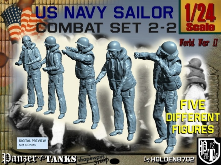 1-24 US Navy Sailors Combat SET 2-2 3d printed