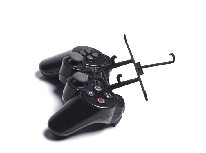 PS3 controller & LG X cam 3d printed Without phone - A Samsung Galaxy S3 and a black PS3 controller