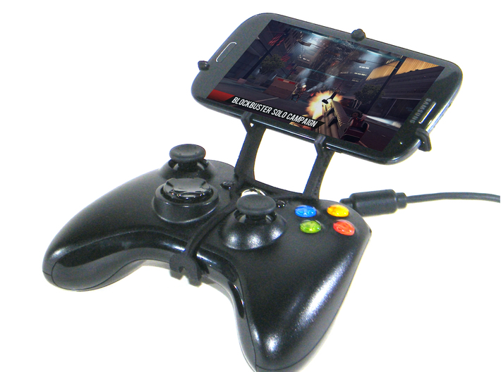Xbox 360 controller & LG X cam 3d printed Front View - A Samsung Galaxy S3 and a black Xbox 360 controller