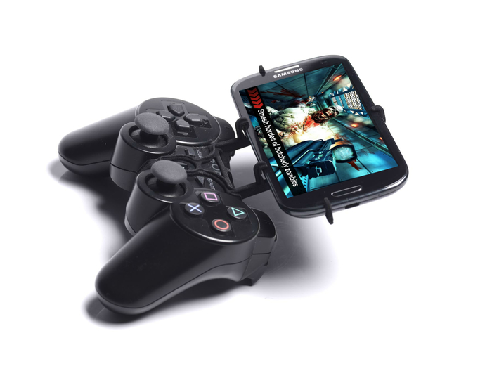 PS3 controller & Panasonic Eluga Arc 2 - Front Rid 3d printed Side View - A Samsung Galaxy S3 and a black PS3 controller