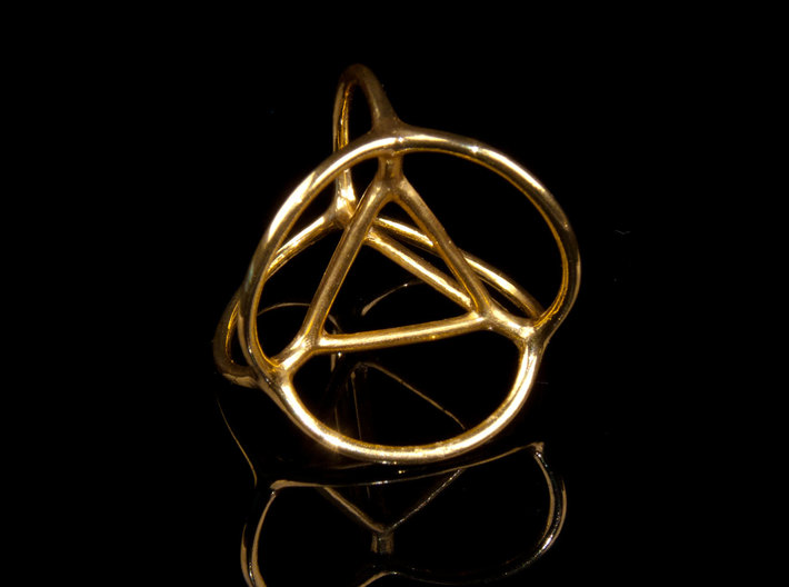 Soap Bubble Tetrahedron 3d printed Printed in Polished Brass