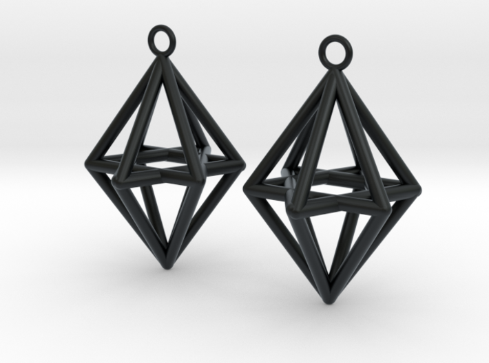 Pyramid triangle earrings type 14 3d printed