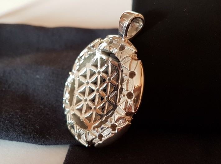 XL Flower Of Life-Fleur de vie 3d printed Photo Polished Silver