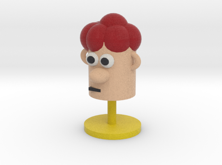 Cartoonish Human Head W/ Stand 3d printed