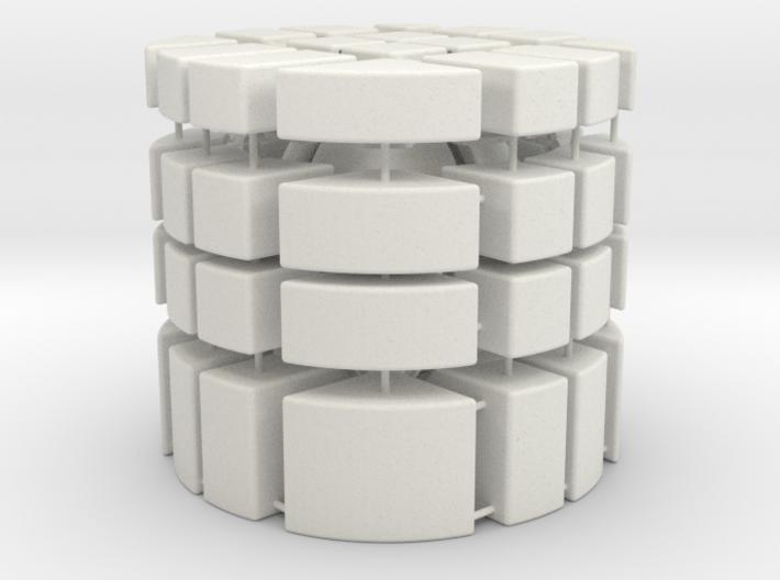 """4x4x4 Bump Barrel """"Cube"""" 3d printed"""
