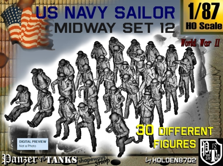 1-87 US Navy MIDWAY Set 12 3d printed