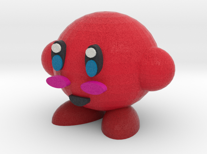 Red Kirby 3d printed