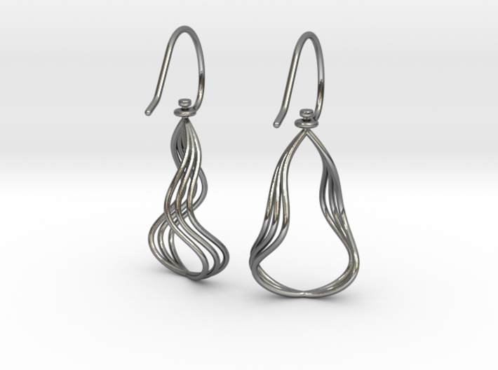 Gentle Flow - Precious Metal Earrings 3d printed