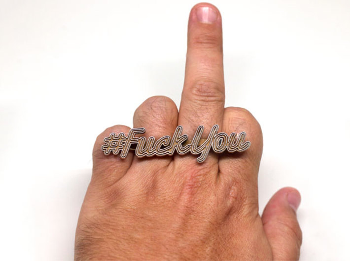 #FuckYou Statement Ring 3d printed