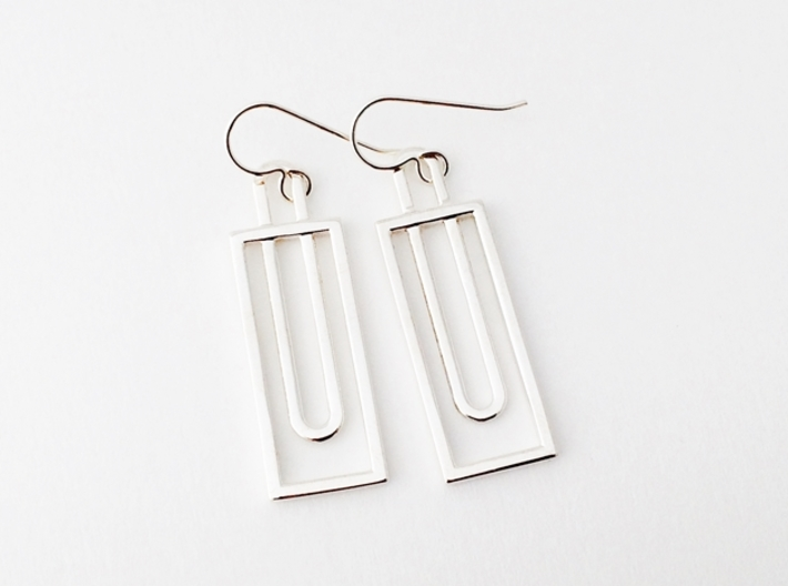 Simple Rectangles - Architectural Earrings 3d printed Polished Silver