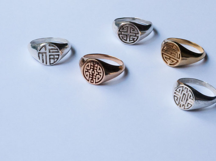 Longevity-Lady Signet Ring 3d printed Five Blessing Lady Signet Ring Collection