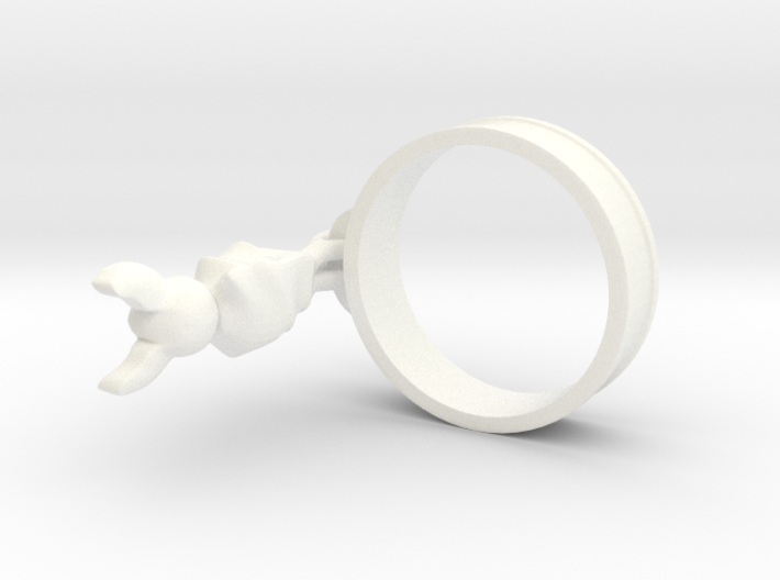 Hanging Bat Charm Ring 3d printed