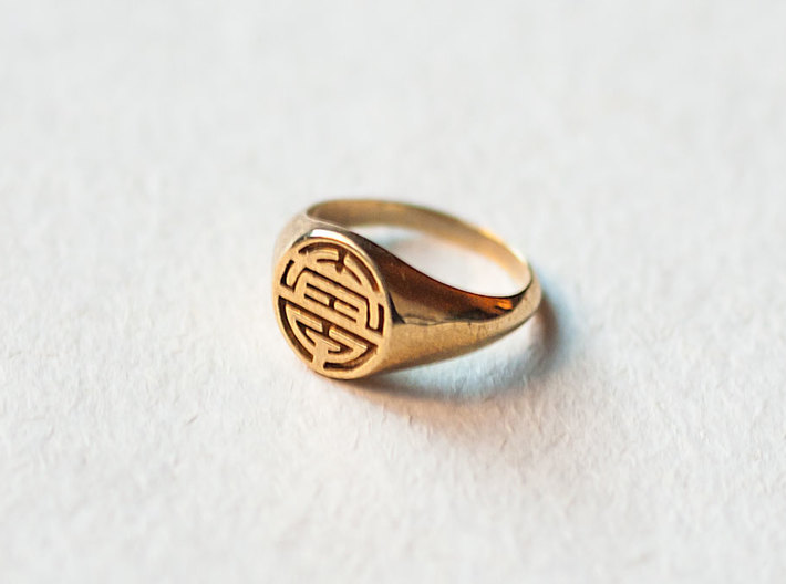 Longevity-Lady Signet Ring 3d printed Longevity Lady Signet Ring in Polished Brass
