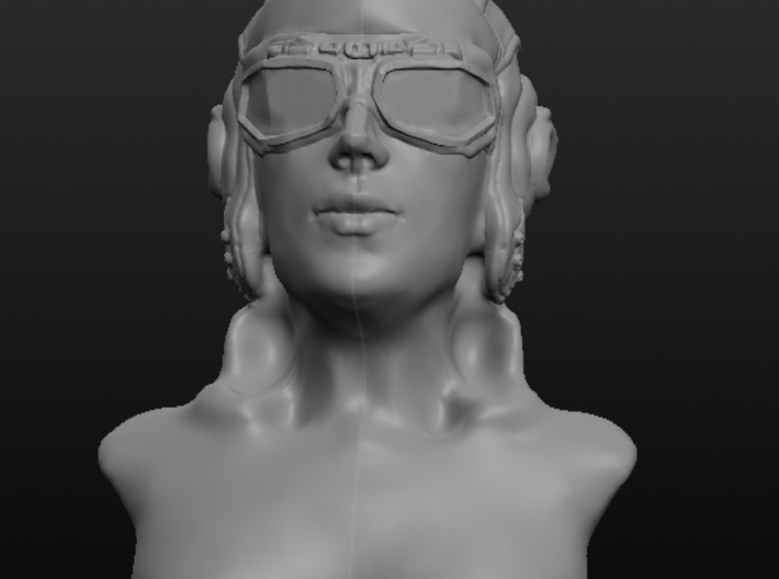 Woman with Flight Goggle 3d printed Front