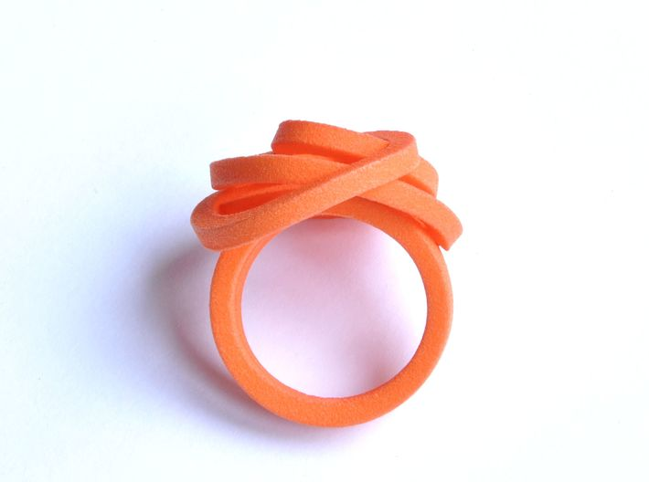 Ring Love is in the Air Medium (from $16) 3d printed Orange Soft Elegant Knot Ring
