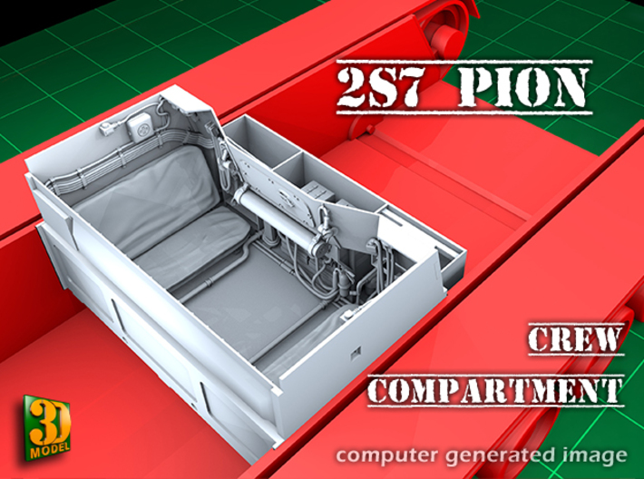 2S7 PION Crew Compartment (1:35) 3d printed 2S7 PION/MALKA crew compartment