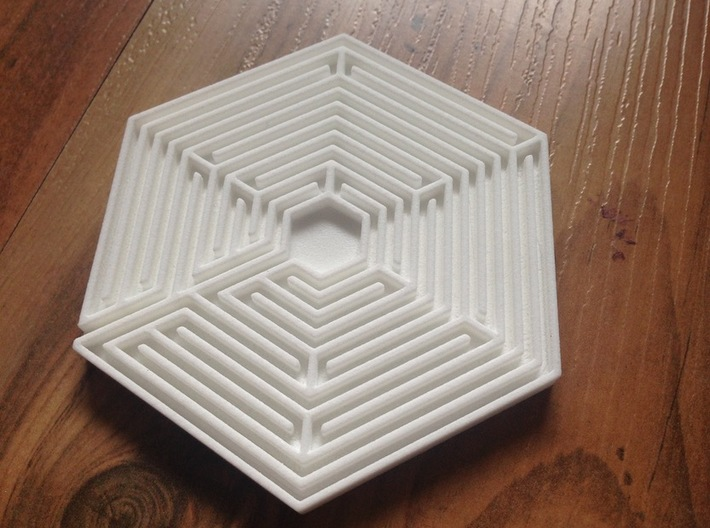 Hexagon Labyrinth Coaster 3d printed