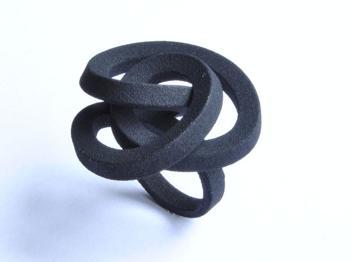 Ring Love is in the AIR (L) (from $26) 3d printed Smooth Large, elegant and sophisticated knot black ring